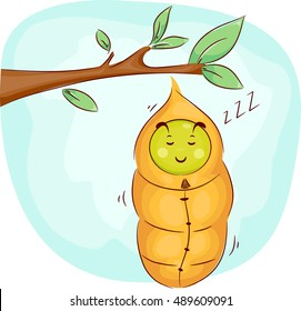 Mascot Illustration of a Cute Caterpillar Soundly Sleeping in its Cocoon