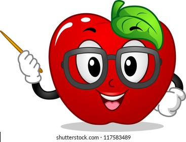 Mascot Illustration Featuring an Apple Teaching