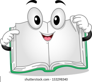 Mascot Illustration Featuring a Book with Pages Spread Apart