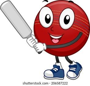 Mascot Illustration Featuring a Cricket Ball Holding a Cricket Bat
