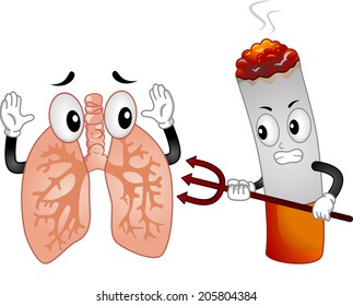 Mascot Illustration Featuring an Evil Cigarette Pointing a Pitchfork at a Scared Lungs Mascot