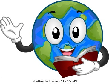 Mascot Illustration Featuring a Globe Reading a Book