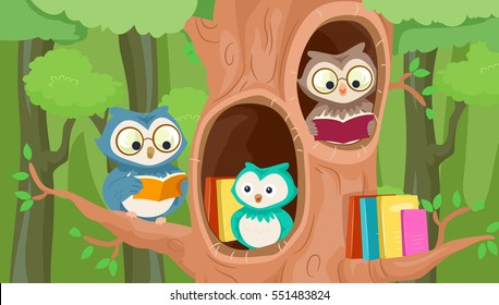 Mascot Illustration Featuring a Group of Owls Perched on a Hollowed Out Tree Leisurely Reading Books