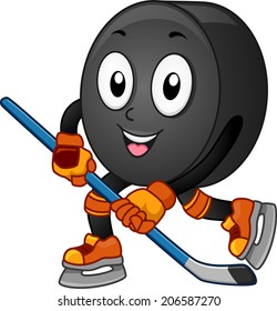 Mascot Illustration Featuring an Ice Hockey Puck Gliding Across the Floor