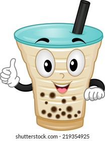 Mascot Illustration Featuring a Milk Tea Giving a Thumbs Up