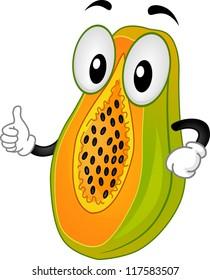 Mascot Illustration Featuring a Papaya Doing a Thumbs Up