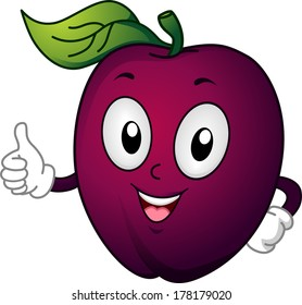 Mascot Illustration Featuring a Plum Giving a Thumbs Up