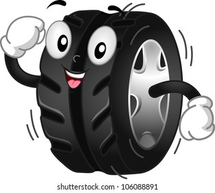 Mascot Illustration Featuring a Running/Rolling Tire