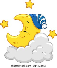 Mascot Illustration Featuring a Sleeping Moon