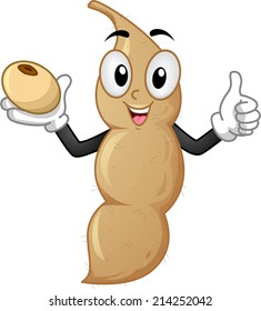 Mascot Illustration Featuring a Soy Bean Doing a Thumbs Up