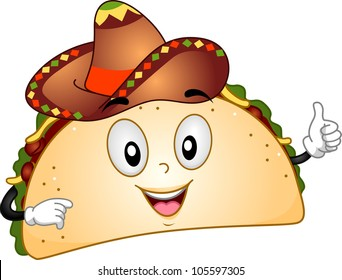 Mascot Illustration Featuring a Taco