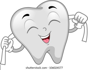 Mascot Illustration Featuring a Tooth Flossing