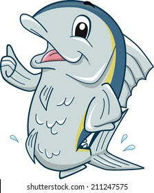 Mascot Illustration Featuring a Tuna Giving a Thumbs Up