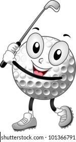 Mascot Illustration of a Golf Ball Holding a Golf Club