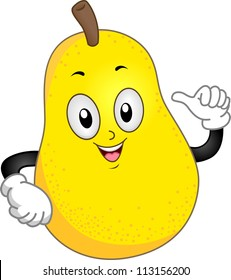 Mascot Illustration of a Happy Pear Pointing to Himself