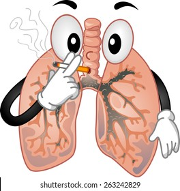 Mascot Illustration of the Lungs Smoking a Cigarette