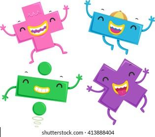 Mascot Illustration of Mathematical Symbols Dancing Happily
