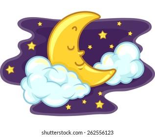 Mascot Illustration of the Moon Sleeping Peacefully