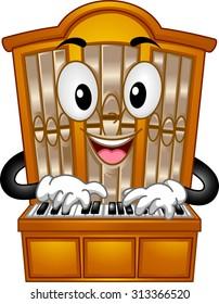 Mascot Illustration of a Pipe Organ Pressing its Keys