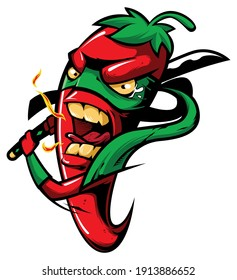 Mascot illustration with red chili pepper, with mask and katana ninja sword.
