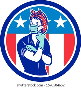 Mascot illustration of Rosie, the riveter, as medical healthcare essential worker wearing a surgical mask and gloves with USA stars and stripes flag set inside circle done in retro style.