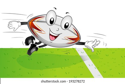 Mascot Illustration of a Rugby Ball Scoring a Touchdown