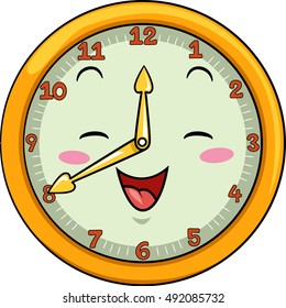 Mascot Illustration of a Smiling Clock with its Hands Pointing to the Numbers Twelve and Eight