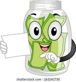 Mascot Illustration of a Tip Jar with a Couple of Bills Inside