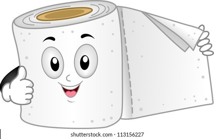 Mascot Illustration of a Toilet Paper Giving a Thumbs Up