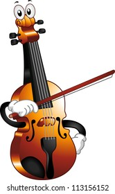 Mascot Illustration of a Violin Holding a Bow Against Himself