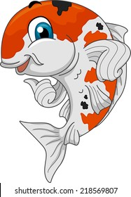 Mascot Ilustration Featuring a Koi Giving a Thumbs Up