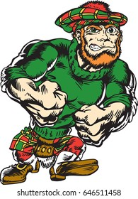Mascot Irish Man walking upright, proud and tough wearing a sweat shirt and a cap. This illustration gives tribute to traditional school mascots. Suitable for all sports.