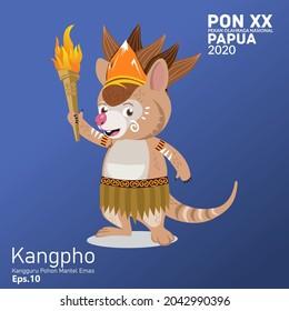 """mascot """"kangpho"""". PON XX Papua National Sports Week 2020, golden coat tree kangaroo. pringsewu, Lampung; 17 september 2021"""