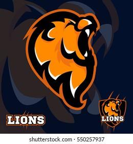 Mascot lion logo. Sport team logotype.