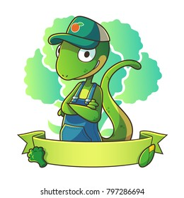 Mascot lizard wearing hat half body with vegetable background