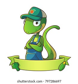 Mascot lizard wearing hat half body