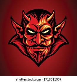 mascot logo red devil head in hand drawn style