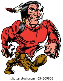 Mascot Native American Indian strutting, proud and tough, which gives tribute to traditional school mascots but with a new look and attitude. Suitable for all sports.