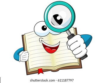 Mascot open book looking through magnifying glass isolated