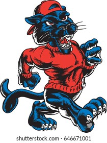 Mascot Panther, strutting, proud and tough, which gives tribute to traditional school mascots but with a new look and attitude. Suitable for all sports.