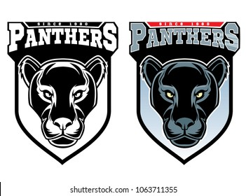 Mascot Panthers - sport team logo template.T-shirt graphic, badge, emblem, sticker.