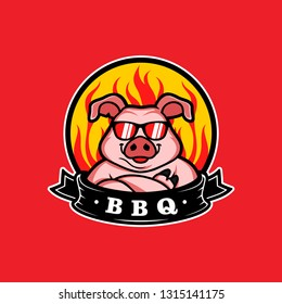 Mascot of pig for bbq in badge logo - Vector