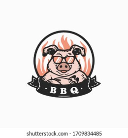 Mascot of pig for bbq in rustic badge logo - Vector