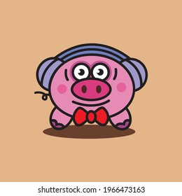 mascot pig wearing headphones, suitable for brand, business, icon images, t-shirts, etc.