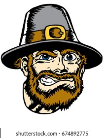 Mascot Pilgrim head, proud and tough, which gives tribute to traditional school mascots but with a new look and attitude. Suitable for all sports.