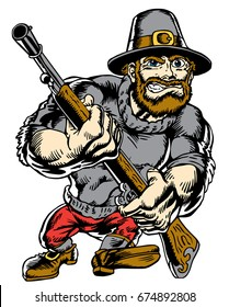 Mascot Pilgrim, strutting, proud and tough, which gives tribute to traditional school mascots but with a new look and attitude. Suitable for all sports.
