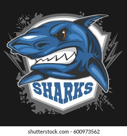 Mascot Sharks - emblem for a sport team.