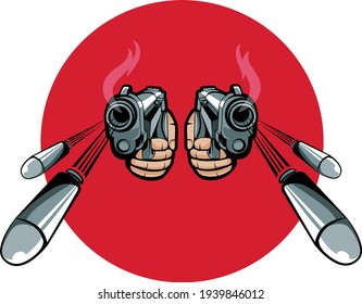 mascot style gun pistol shooting bullets in a perspective. Bullets coming at you at high speed. can be used as a logo design element for streaming industry.