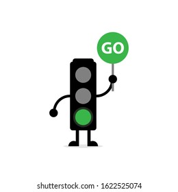 mascot of traffic lights with hands and feet, with green lights on and holding green boards, perfect for illustration, education and logos