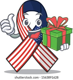 Mascot usa ribbon holding gift in the character